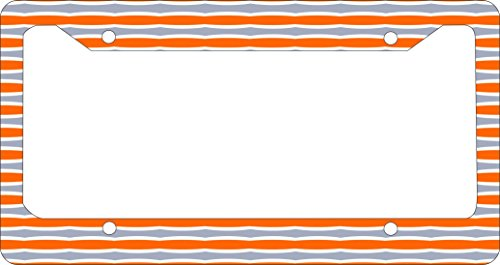 Rikki Knight Orange and Grey Swirly Stripes Design License Plate (Swirly Stripe)