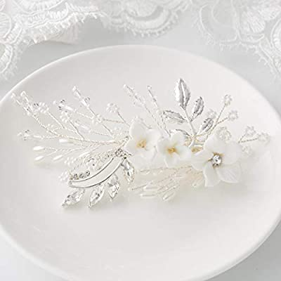 SWEETV Pearl Wedding Hair Clip Comb Barrette Flower Crystal Bridal Hair Accessories Silver Headpieces for Women Wedding