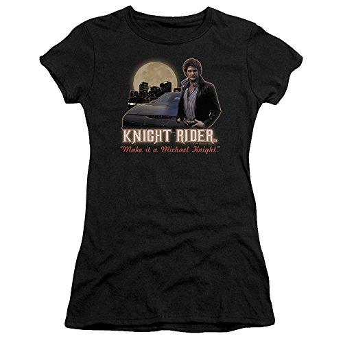 Full Moon Juniors T-shirt - Trevco Knight Rider Full Moon Juniors' Sheer Fitted T Shirt, X-Large Black
