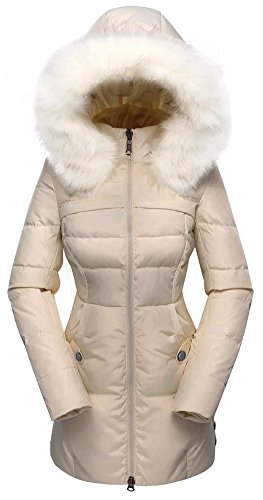 Beinia Valuker Women's Down Coat with Fur Hood with 90% Down Parka Puffer Jacket