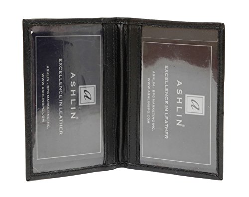 Ashlin Genuine Leather Double ID Holder. Fits Larger Sized ID's|Pilot License|Drivers License|MetroPass| Black [7503-07-01] (Pilot Holder)