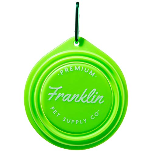 Franklin Pet Supply Collapsible Pet Travel Bowl - BPA Free - FDA Approved - Dogs - Cats - Dog Bowl - Food - Water Bowl - Small - Medium - Large Dog Food Bowl - Puppy - Includes Clip - Green