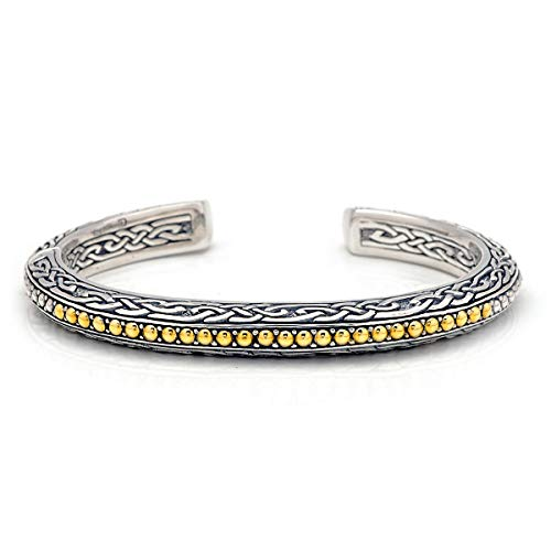 925 Sterling Silver and 18 Kt Yellow Gold Kick Cuff Bracelet with Celtic Design for Women and Jewelry Gift, Width : 60 MiliMeter and Height : 50 MiliMeter ()