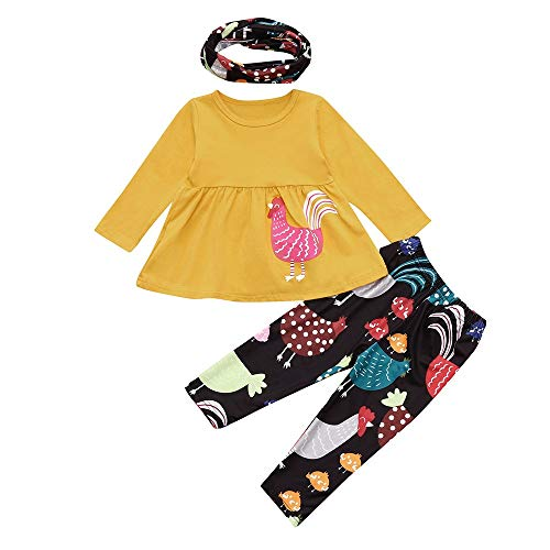 Fheaven (TM) Kids Baby Girl Christmas Clothes Hen Printing Mini Dress Tops + Pants Costume Outfits Set (3 Years, Yellow) -