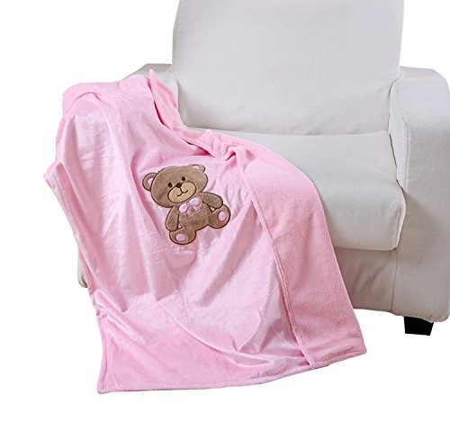"Noble House Baby Receiving Blanket, Soft Plush Cozy Adorable Design, 30""x40"" (Teddy Bear Pink)"