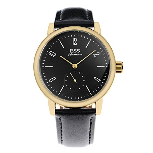 ESS Mens Watch Mechanical Automatic Gold Case Faux Leather German Bauhaus Luxury ()