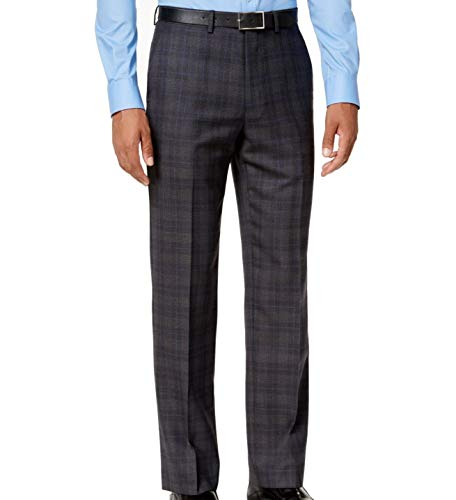 Ryan Seacrest Distinction Mens Wool Blend Plaid Dress Pants Gray 32/30