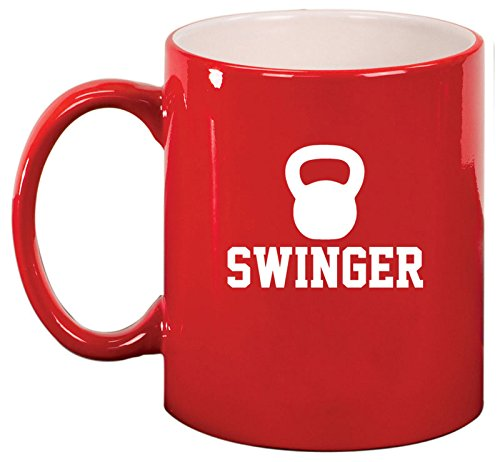 - Ceramic Coffee Tea Mug Cup Swinger Kettlebell Funny Workout Fitness (Red)