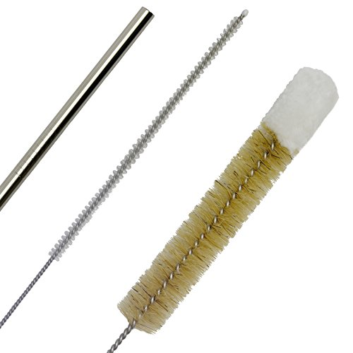 TSNZ Bottle Brush & Straw Kit, Set of 3 Natural Boar Bristle Brushes, Soft Cotton Tipped, Small, Medium & Large. Includes 4 Stainless Steel Drinking Straws with a Nylon Straw Brush