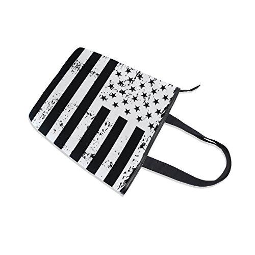 Flag Vintage Handbag USA Canvas MyDaily Black White Shoulder Tote Bag American Womens YUARxa
