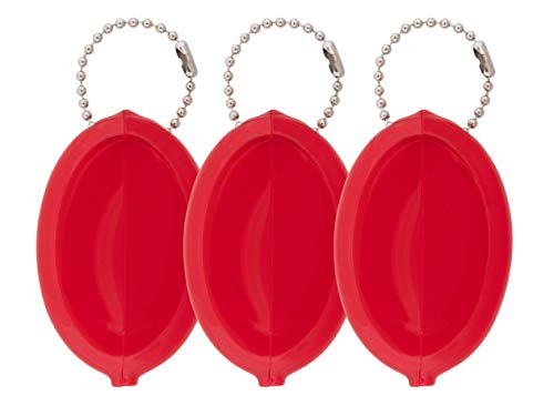 Oval Rubber Coin Purse Change Holder With Chain By Nabob (3 Value Pack,Red) ()