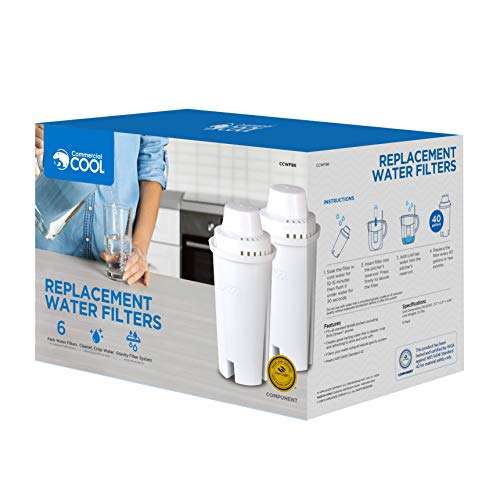 Commercial Cool CCWFB6 Brita Water Filter Replacements, White, 6 Pack