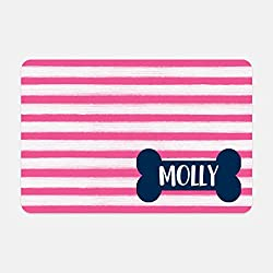 Personalized Pet Mat - 10 x 16 (Hot Pink Stripe Dog Bone)