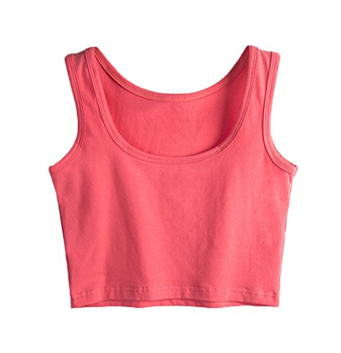 (SUNDAY ROSE Womens Basic Solid Sleeveless Tank Crop Top Watermelon red - Size S)