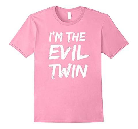 Mens Im The Evil Twin | Funny Halloween Horror Shirt Medium Pink (Evil Twin)