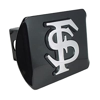 "Florida State University Seminoles ""Black with Chrome FS Emblem"" NCAA College Sports Metal Trailer Hitch Cover Fits 2 Inch Auto Car Truck Receiver: Automotive"