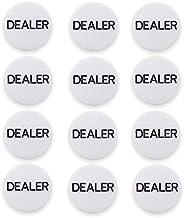 12-Pack Dealer Buttons - Poker Accessories, Casino Game Pucks, Texas Hold'em Button for Card Games, Bulk V