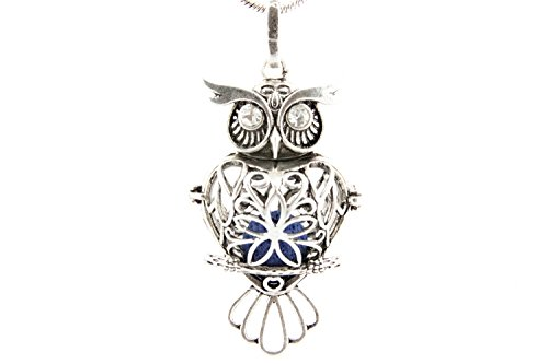 "Essential Oil Diffuser Necklace Owl Locket Pendant Jewelry with 4 Color Lava Stones - 24"" Adjustable Chain (Long A Berger Baskets)"