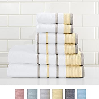 Great Bay Home 6-Piece Luxury Hotel/Spa 100% Turkish Cotton Striped Towel Set, 500 GSM. Includes Bath Towels, Hand Towels and Washcloths.