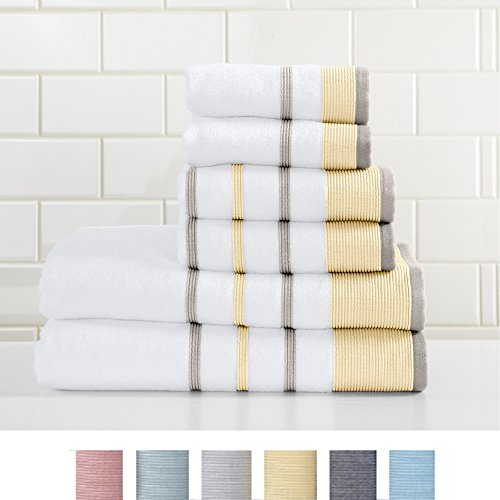 Luxury Hotel / Spa 100% Turkish Cotton Striped Hand Towel, 500 GSM. Includes 1 Hand Towel. Noelle Collection By Great Bay Home Brand. (Hand Towel, Gold / Grey)