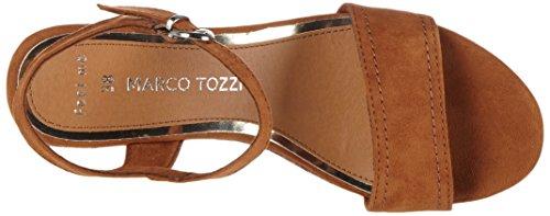 Marco Tozzi 28359 - Sandalias de vestir de lona para mujer Marrón (Cognac 305)