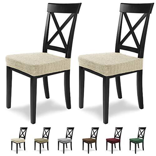 SCHEFFLER-Home Anna 2 Fundas para Asiento de sillas, Estirable Cubiertas, extraible Funda con Banda elastica, Natural