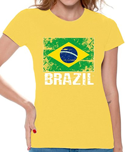 Awkward Styles Brazil Shirts for Women Brazil Flag T-Shirts Brazil Gifts for Her Yellow M
