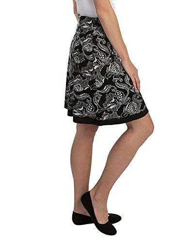 Spandex Reversible Skirt (Colorado Company Women's Reversible Tranquility Skirt, Black Blooms, XXL)