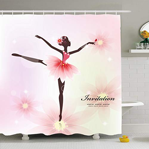 Ahawoso Shower Curtain 72x78 Inches Fairy Ballerina Pretty Dancer Your Ballet Sports Recreation Girl Abstract Dance Adult Design Waterproof Polyester Fabric Set with Hooks