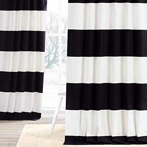 HPD Half Price Drapes PRCT-HS06-108 Horizontal Stripe Curtain 1 Panel , 50 X 108, Onyx Black OffWhite