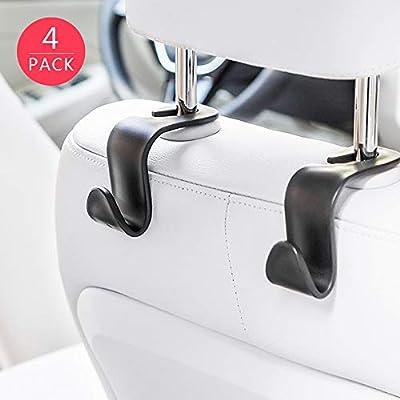 MUYI 4 Pack Car Vehicle Backseat Headrest Hook Hanger Storage for Purse Backpack Grocery Bags Handbag: Automotive