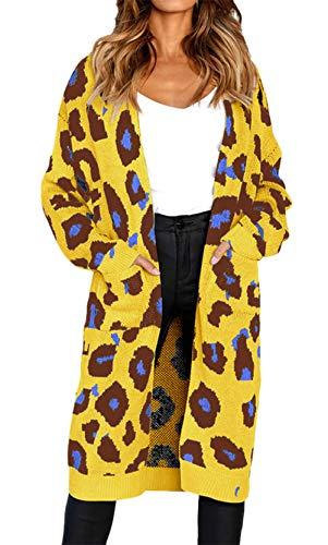 Otoño Punto Elegantes Larga Invierno Amarillo Moda Casuales Manga Mujeres De Vintage Cómodo Casual Largos Caliente Cardigan Chaqueta Abrigo Anchas Bolsillos Outwear Tejido Con Leopardo Mujer q0PvSv
