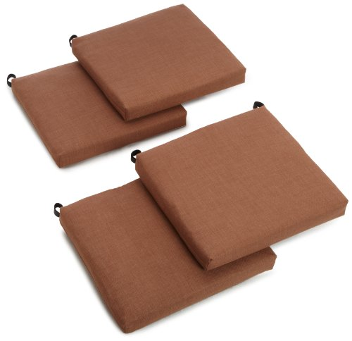 Blazing Needles Outdoor Spun Poly 19-Inch by 20-Inch by 3-1 2-Inch All Weather UV Resistant Zippered Cushions, Mocha, Set of 4