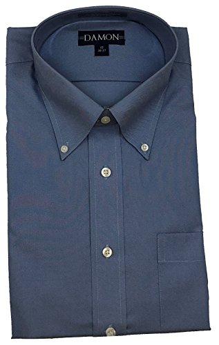 Enro Button Down Dress Shirt (Damon Pinpoint Oxford Button Down Collar Big & Tall Size Dress Shirt (Blue, 17 36/37))