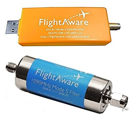 FlightAware Raspberry Pi + ADS-B PRO USB Stick + Band-pass SMA Filter + Car  Antenna PiAware Track Planes