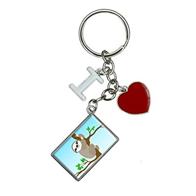 Sloth Just Hanging Around I Heart Love Keychain Key Ring - Made On Terra