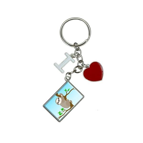 Sloth Just Hanging Around I Heart Love Keychain Key Ring -