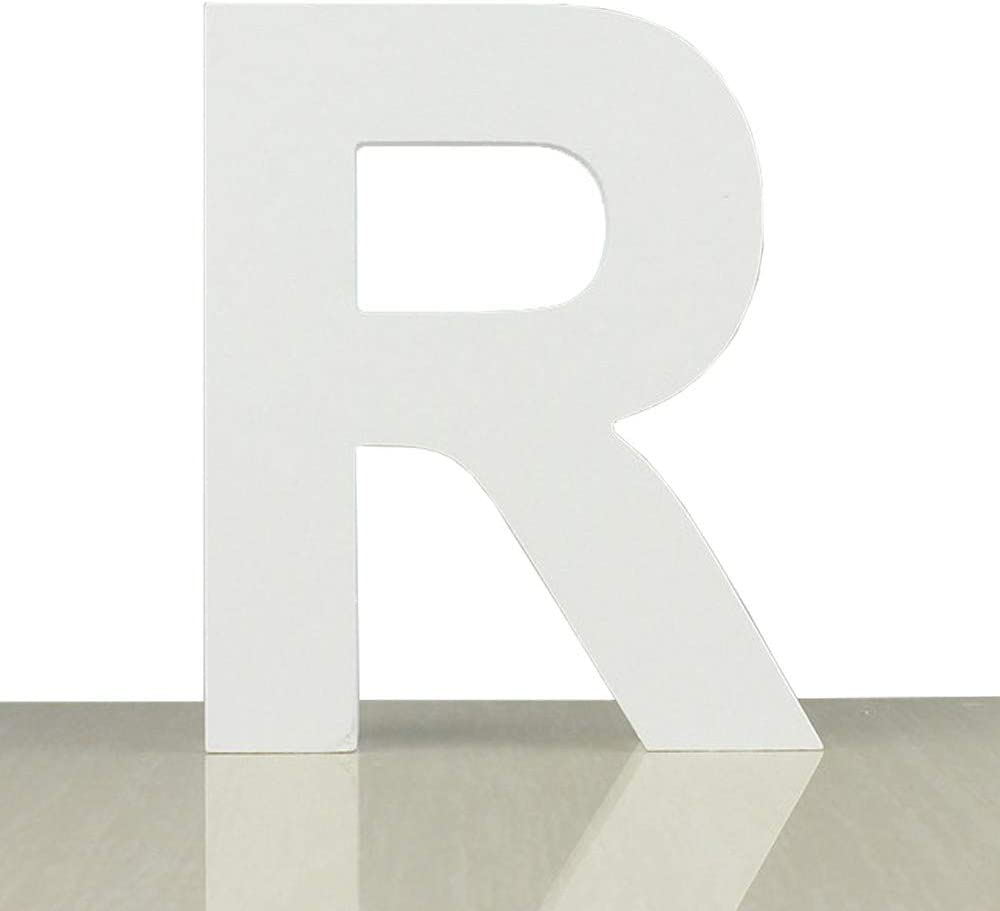ZOOYOO White Wood Letter R for Decoration Wall Letters Marquee Alphabet DIY White Words Sign Hanging for Home Bedroom Office Wedding Party Decor