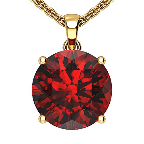 (Belinda Jewelz 14k Rhodium Plated Yellow Gold Round Gemstone Sparkling Rope Chain Sterling Silver Birthstone Fine Jewelry Classic Womens Hanging Pendant Necklace, 3.8 Carat Garnet Red, 18 inch)