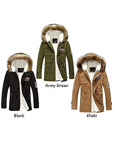 Vento Tasche Lunga Uomo Armee Con Ragazzi A Cerniera Trench Manica Capispalla Da Outwear Laterali Coat Giacca Classiche Green Invernale Cappuccio 4KqACw