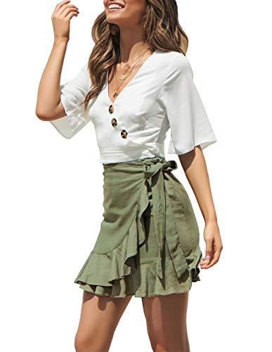 Ladies Summer Casual Mini Skirt, Fashion High Waist Skater Tennis Skirt Green L