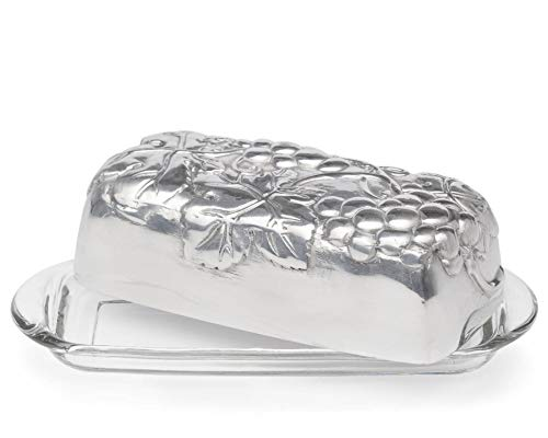 Arthur Court Designs Aluminum Grape Covered Butter Cream Cheese Dish with glass dish