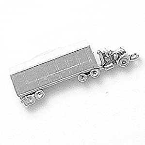 Amazon Com 925 Sterling Silver Tractor Trailer Charm