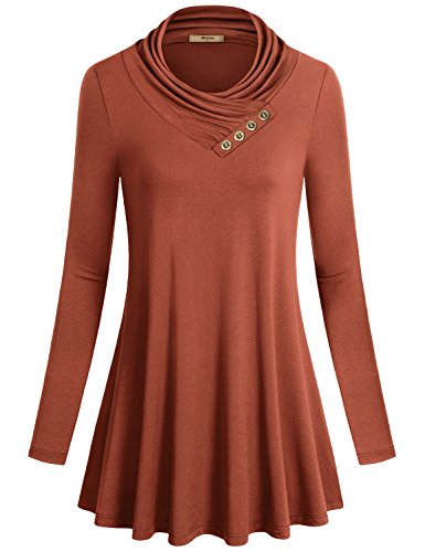Miusey Pregnancy Shirts, Womens Long Sleeve Cowl Neck Vintage Casual Blouse Tunic Top Shirt Plus Size Maternity Tops Rust Large -