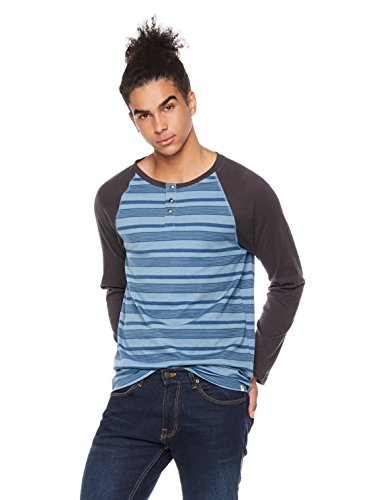 Rebel Canyon Men's Young Long Sleeve Stripe Henley T-Shirt XXL Cadet (Xxl Blue T-shirt)