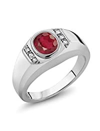 1.56 Ct African Red Ruby White Created Sapphire 925 Sterling Silver Men's Ring