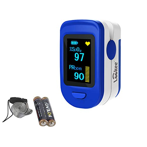 🥇 LOOKEE Fingertip Pulse Oximeter | Blood Oxygen Saturation Monitor with Plethysmograph Waveform and Pulse Graph | Finger SpO2 Heart Rate Tracker | 2-Color OLED Display