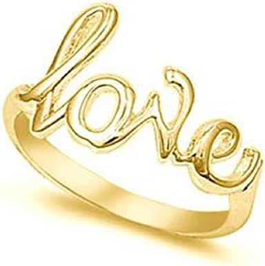 14K Yellow Gold-Plated Love Ring