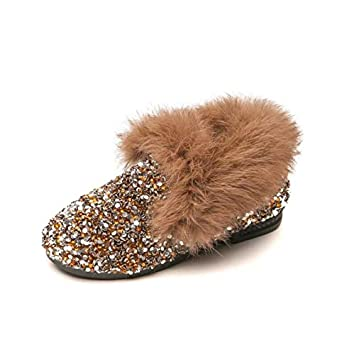 3.5 Pink Heeled Fashion Winter Kids Casual Fur Thicken Sequins Girls Plush Warm Western Leather Shoes Sewing Cute Snow Boot Haressu