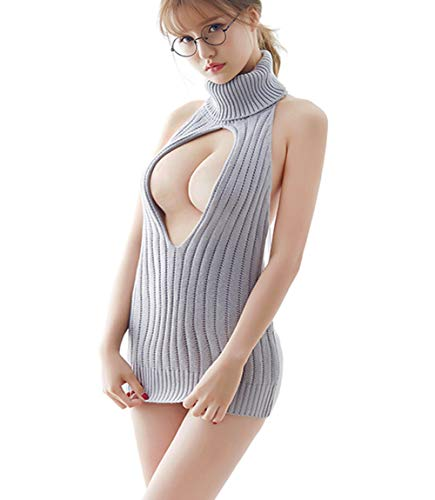 Olens Japan Style Women's Backless Hollow Out Anime Cosplay Virgin Killer Sweater Knit Vest